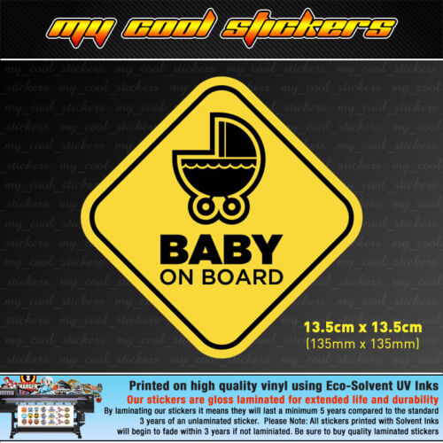 Baby On Board Vinyl Sticker Decal for car,ute,4x4-4 versions to choose from