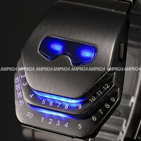 Blue Snake Binary Led Digital Date Army Steel Men's Sport Quartz Watch