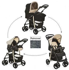 New-Hauck-cabas-SLX-Trio-Travel-System-Pushchair-Pram-Set-Caviar-Black-Beige