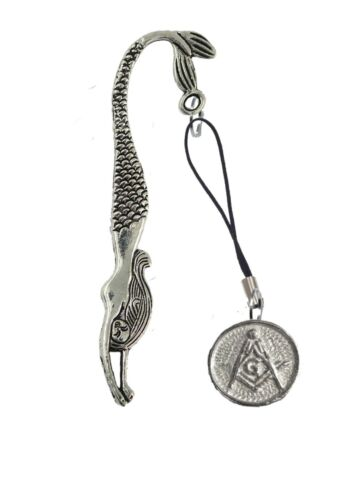 Masonic G FT11 2.1cm X 2.1cm English Pewter On A MERMAID Bookmark