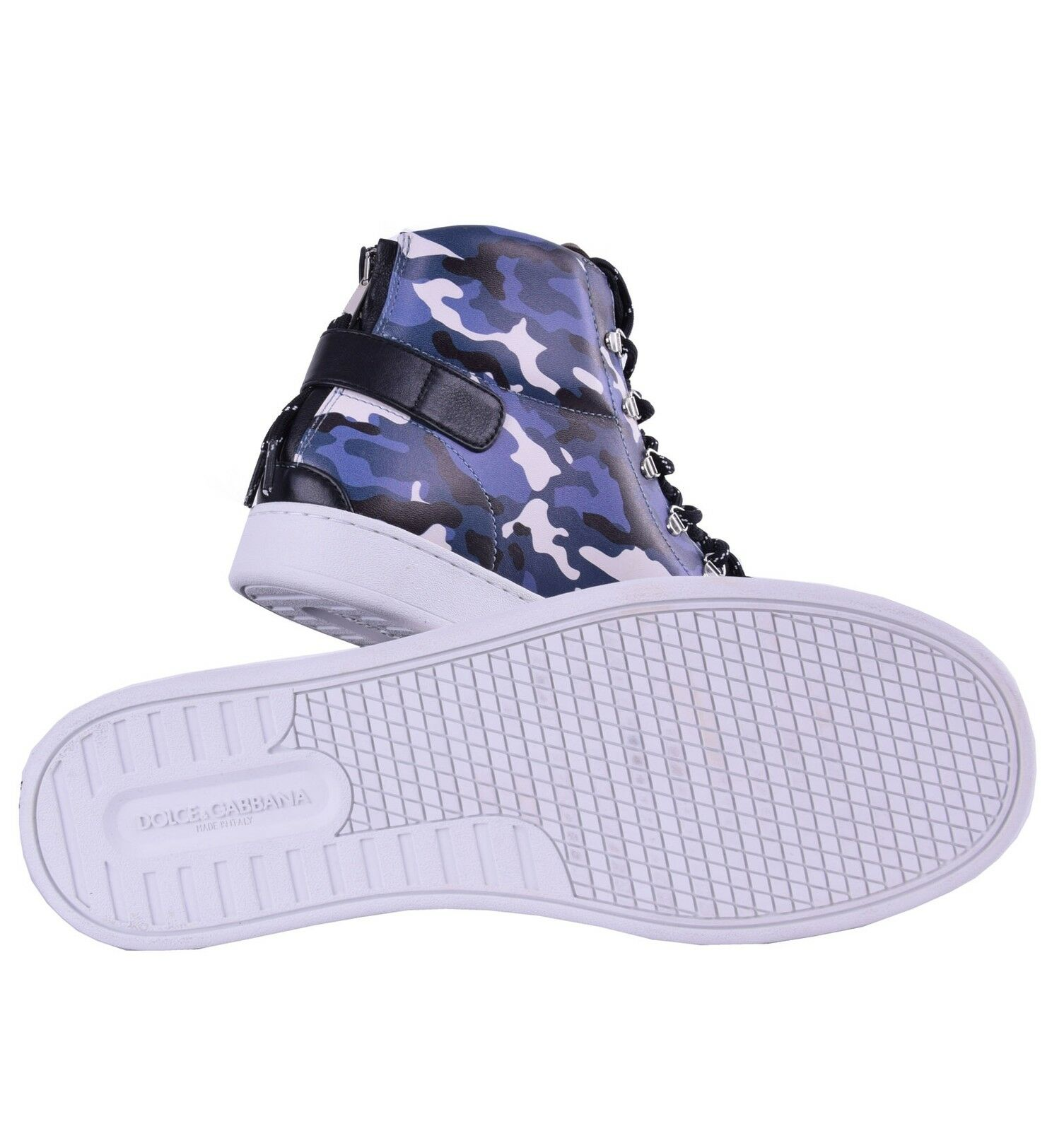 DOLCE & Made GABBANA High-Top Sneakers Camouflage Print Blau Made & in  04646 560a3c