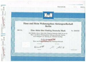 Haus und Heim Wohnungsbau-AG, Berlin 1994, 50 DM, SPECIMEN, VF+