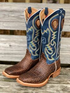 334b3188650 Details about Twisted X Men's Ruff Stock Blue Cognac Elephant Print Square  Toe Boots MRS0057