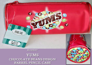 YUMS Sweets RED CYLINDER PENCIL CASE Milk Chocolate Beans Treats Zip WIPE CLEAN