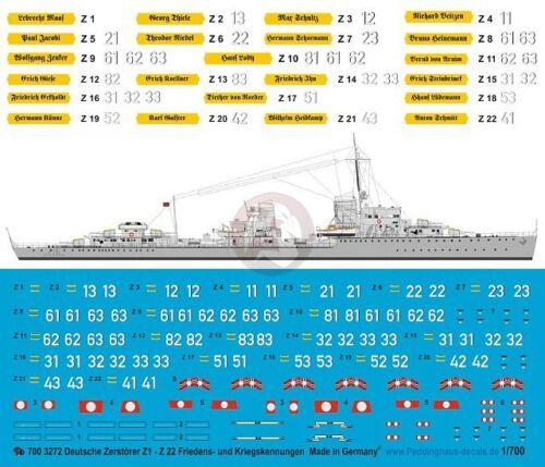Peddinghaus 1//700 German Destroyer Z11 Z22 Markings WWII Peacetime 3272