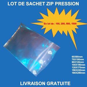 Lot-Sachets-plastique-refermables-ZIP-Pression-transparent-100-200-500-1000