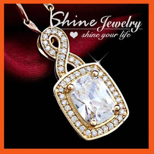 18K GOLD GF BIG SQUARE SIMULATED DIAMOND INFINITY WEDDING SOLID NECKLACE PENDANT