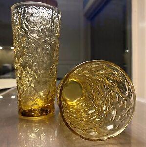 Lot of 2 Vintage Anchor Hocking Lido Milano Amber/Gold Tumbler Drinking Glasses