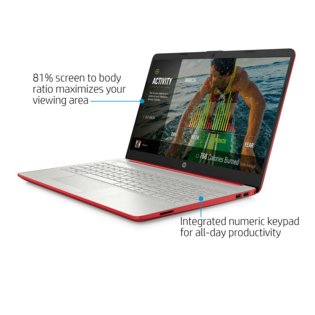 NEW HP 15.6 inch HD Intel N5000 4GB DDR4 128GB SSD Webcam BT Win 10 Scarlet Red