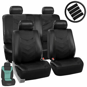 Car-Seat-Cover-Faux-Leather-For-Car-SUV-Solid-Black-w-Accessories-Free-Gift