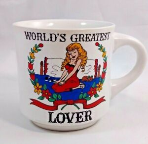 Vintage Papel Coffee Mug 10oz Worlds Greatest Lover Busty Blonde Left Handed