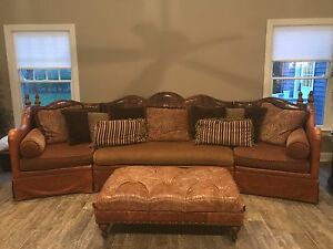 Luxury Italian Leather and Fabric Sofa | eBay