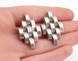 MEXICO 925 Sterling Silver - Vintage Brick Layer Non Pierce Earrings - EG2799