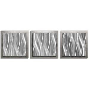 Details About Modern Silver Wall Art Contemporary Metal Artwork Abstract Metallic Decor