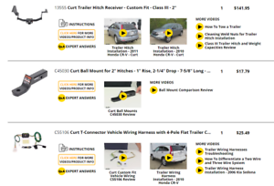 Details about Curt Trailer Hitch, Ball Mount, Wiring Harness for Honda on