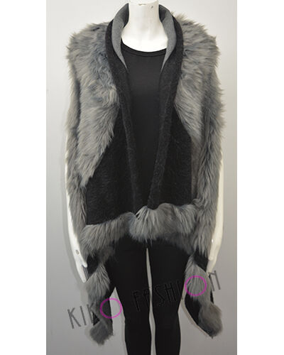 Womens Ladies Waterfall Faux Fur Sleeveless Fallaway Cape Cardigan Jacket Coat
