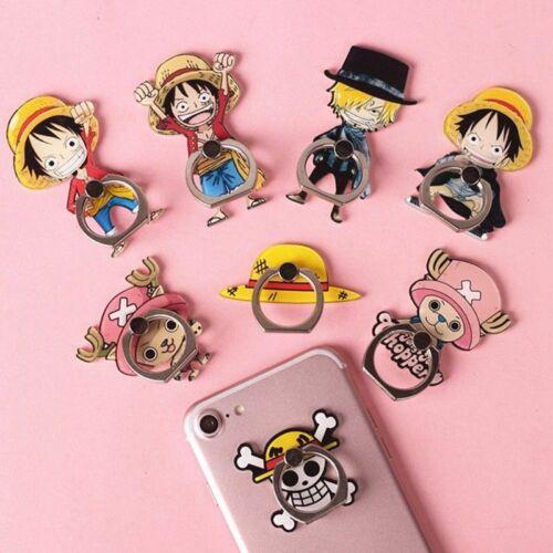 Anime One Piece St nder Halter Luffy Strohhut Handy Metall Finger Ring Pu Wz Ksy