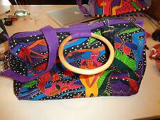 Laurel Burch Three Person Design Tote Bag w/Shoulder Strap & Wooden Handles