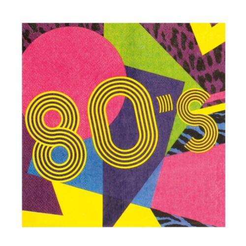 12 Retro 1980s 80s Servilletas Papel Fiesta De Disfraces Vajilla Partyware