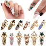 Women Fashion Style Crown Crystal Finger Nail Art Ring Jewelry Nail Finger RingR