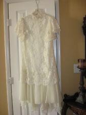 Vintage ivory lace and chiffon tea length Shift  wedding dress. Short Sleeves