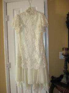 Image Is Loading Vintage Ivory Lace And Chiffon Tea Length Shift