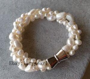 3-Straenge-6-9-mm-Weiss-Barock-Suesswasser-Perle-Armband