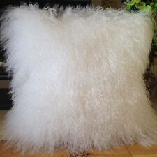 BLEACH WHITE 40x40CM GENUINE MONGOLIAN SHEEPSKIN LAMB WOOL FUR CUSHION WITH PAD