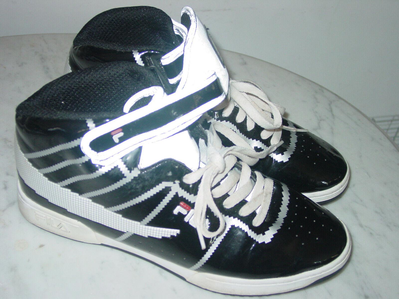 Para Hombre FILA  Digital F-13  1VF082XX-013 Negro blancoo Rojo Mid Top Zapatos