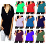 Women Oversized Baggy Loose Fit Turn up Batwing Sleeve Ladies V NeckT-Shirt Top