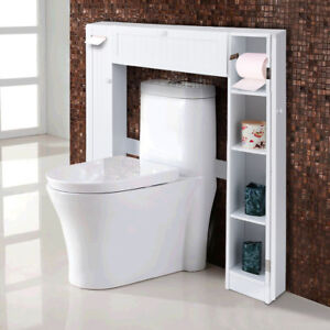 Image Is Loading 5Wooden Over The Toilet Storage Cabinet Drop Door