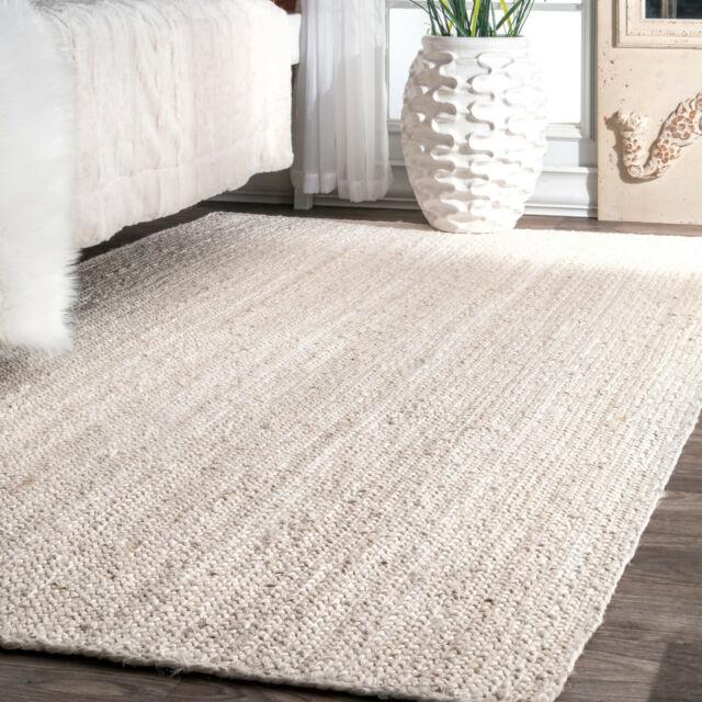Modern Area Rug Braided Carpet Living Room Kitchen Elegant Hand Woven Rugs White