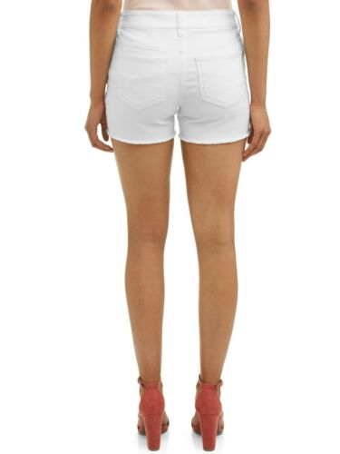 """Time And Tru Denim Shorts Mid Rise White Size 20 Relaxed Fit Stretch 4.5/"""" Fray"""