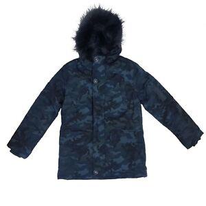Fur-Hooded-School-Coat-Boys-Kids-Camouflage-Warm-Winter-Padded-Parka-Jacket