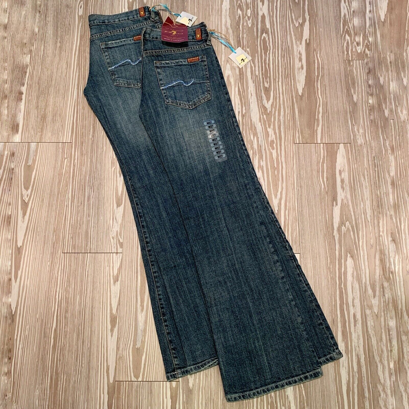 Lot 2 NWT 7 For All Mankind 7FAM 27x32 Bootcut Canyon Wash bluee Crystals New