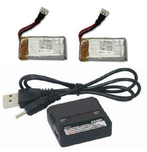 Qty 2 w// Charger JJRC 1000 2.4GHz 3.7v 350mAh LiPo Battery