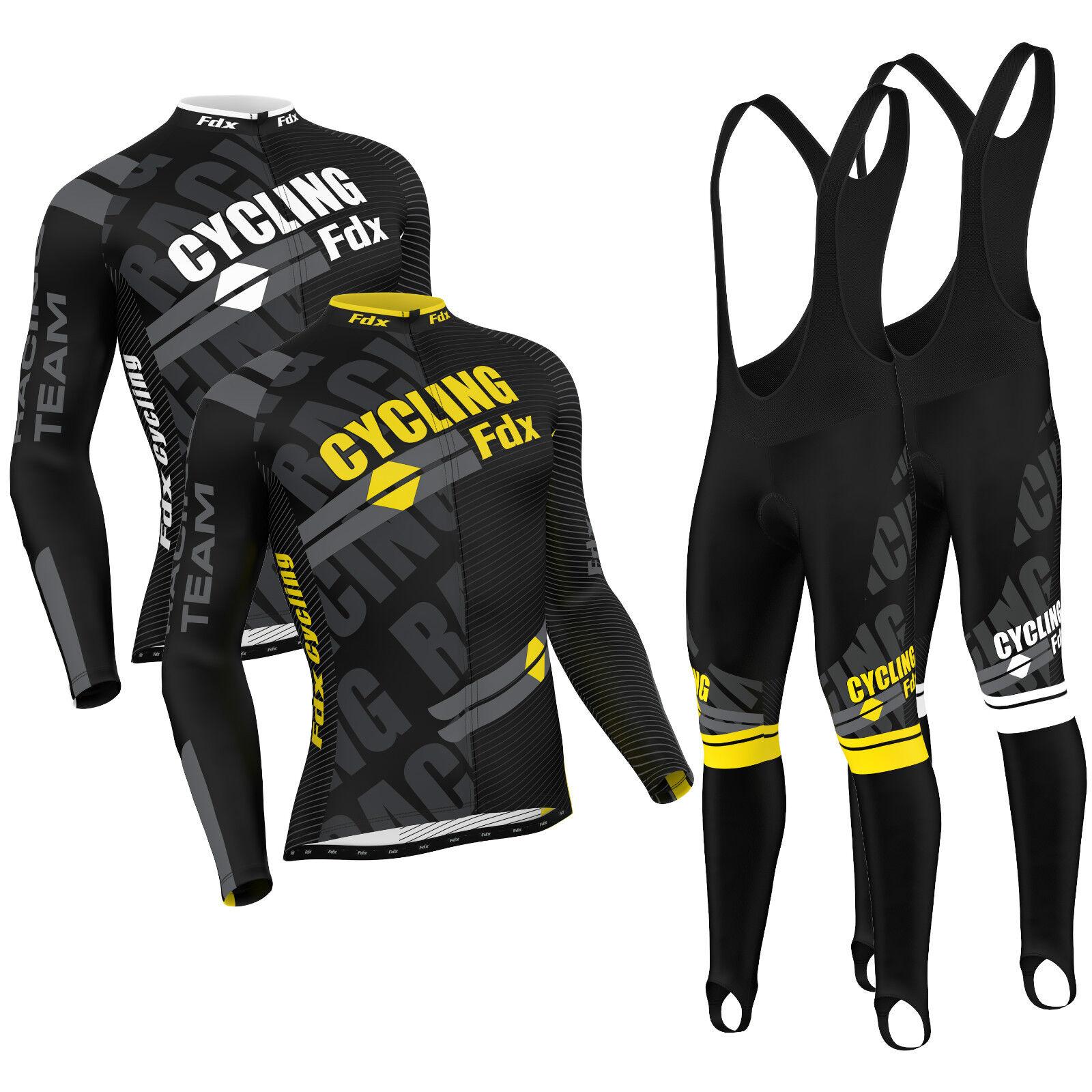FDX Da Uomo Pro Ciclismo Jersey Frossodo Indossare Thermal Giacca bici  Bavaglino Da corsa Stretto Set