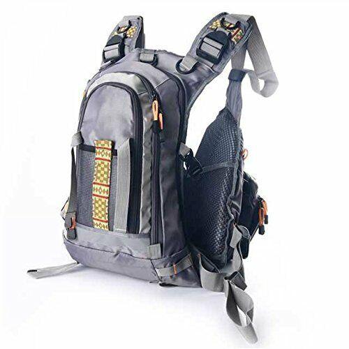 Gray Fly Fishing Backpack Adjustable Size Mesh Fishing Vest Pack Amarine-made