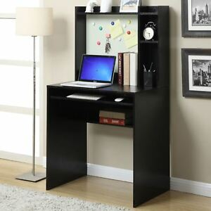 Details about Student Desk With Hutch For Bedroom Office Dorm Black Small  Computer Table New