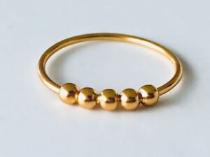 18K-Gold-925-Sterling-Silver-Ring-5-Five-Balls-Stackable-Stack-Band-Size-6-7-8-9