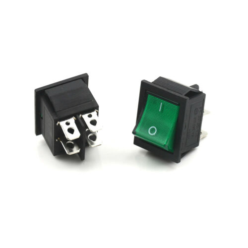 5X Green Lamp 4 Pin ON//OFF 2 Position DPST Rocker Switch 16A//250V KCD4-201 AHTPI