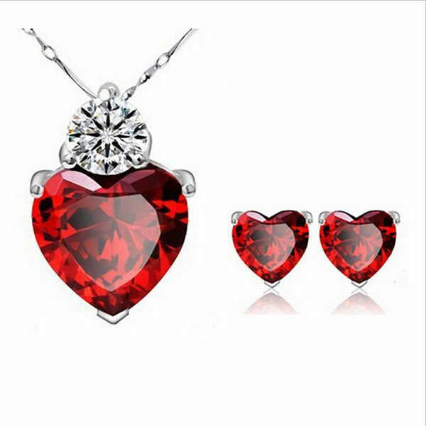 Women's Fashion Sterling Silver Ruby Heart Necklace zircon with stud earings set
