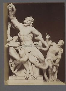Scultura Greco-Romana Laocoonte Grecia Italia 2 Foto Vintage Albumina Ca 1880