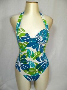 etam maillot de bain 1 pi ce blanc et vert fleurs t 36 neuf ebay