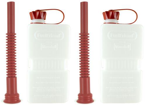2x FuelFriend®-PLUS CLEAR 1,5 Liter Mini-Benzinkanister Reservekanister+Füllrohr