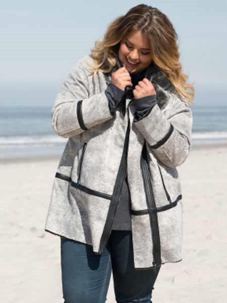 35% Veste pour L'Extérieur Anorak XXL Fausse  Fourrure Gr. 48 50 52, gris  moda clasica
