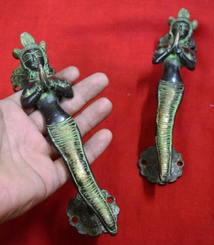Snake Lady Mermaid Shape Door Handle Antique Style Brass Goddess Snake Gift BM67