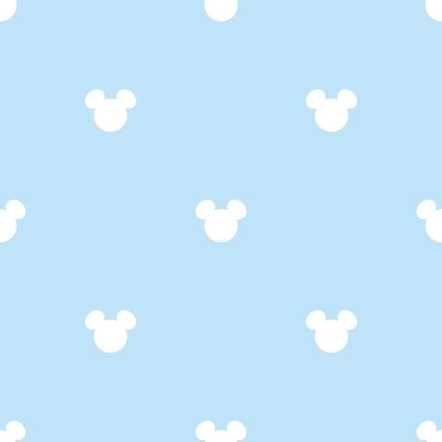 BLUE WHITE DISNEY MICKEY MOUSE NURSERY CHILDRENS FEATURE WALLPAPER MK3015 2
