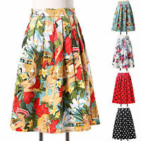 Women Vtg High Waist Floral/Polka Dots Printed Pleated A-Line Skater Midi Skirt