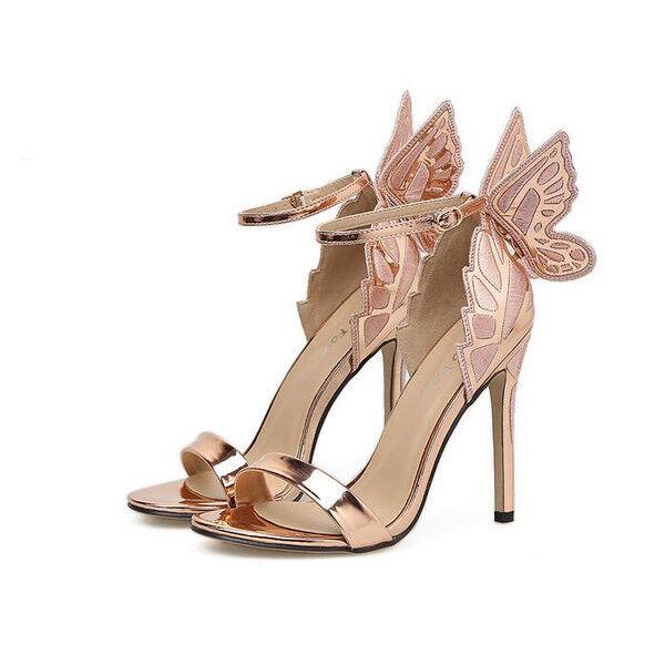 Sandali eleganti tacco stiletto 12 cm oro farfalla simil pelle eleganti 9640